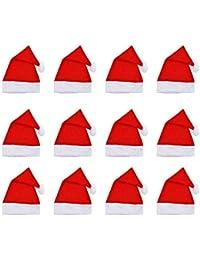 Broadroot Sombrero de Santa Claus Niños Adultos Sombrero de Navidad Fiesta de Navidad Decorar No Tejido,12pcs