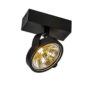 QAZQA Design / Industriel / Moderne / Plafonnier spot Go 1 noir Aluminium Rond / Rectangulaire / G53 Max. 1 x 50 Watt / Luminaire / Lumiere / Éclairage / intérieur / Salon / Chambre á coucher / Cuisin