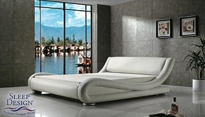 Madrid Award Winning Designer Bed White Faux Leather King Size