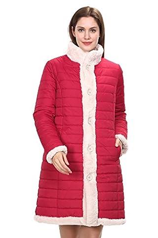 Adelaqueen Femmes Nouveau style d'hiver reversible manteau de décolleté en fourrure de fausse fourrure Rouge Taille XXL