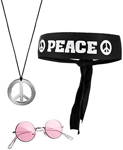 Balinco 3-teilliges Hippie Set mit Stirnband Peace Zeichen Kette und runder Nickel Sonnenbrille (70er Jahre Kinder Kostüm)