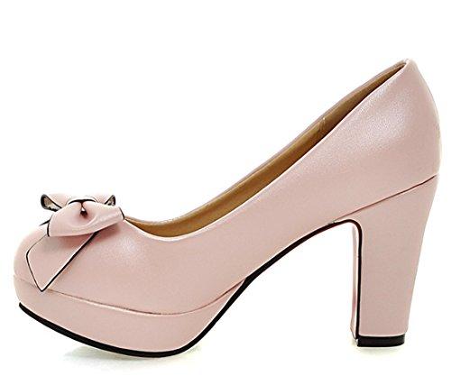 YE Damen Schleife Plateau High Heels süß Pumps mit Blockabsatz bequem Chunky heel runde Spitze Kleidschuhe Rosa