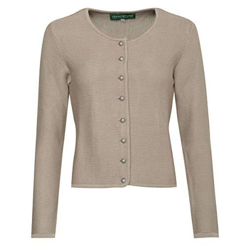 Country Line Damen Trachten-Mode Trachtenstrickjacke Bine in Beige traditionell, Größe:34, Farbe:Beige