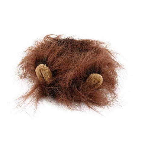 Candyboom Schöne Haustier Kostüm Löwen Mähne Perücke für Katze Halloween Weihnachtsfeier Dress up mit Ohr Haustier Bekleidung Katze Kostüm (Katze Trägt Löwen Kostüm)