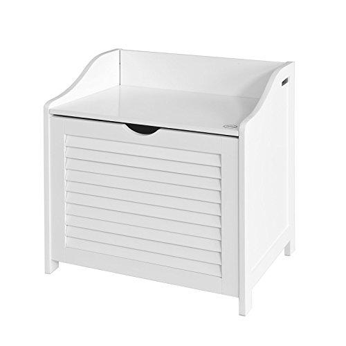 SoBuy FSR40-W Wäschetruhe Wäschebank Wäschekorb in weiß Wäschesammler mit Deckel und herausnehmbarem Wäschesack, BHT ca.: 50x53x35cm