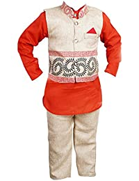ahhaaaa Boy's Blended Kurta and Pant with Waistcoat Red_5-6 Years