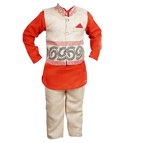 ahhaaaa's Boys Kurta, Pant with Waistcoat (RED106-24_Red & White_3-4 Years)