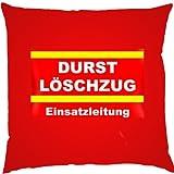 Kissen mit Innenkissen - Durstlöschzug - Einsatzleitung - Biertrinker - 40 x 40 cm - in rot