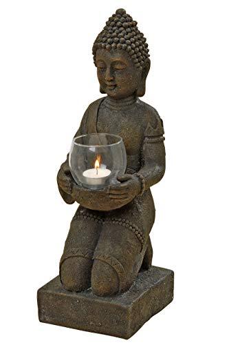 Buddha mit Windlicht, Buddhafigur, Gartenfigur mit Windlicht in den Händen aus Kunstharz, ca. 14 cm x 16 cm x 44 cm