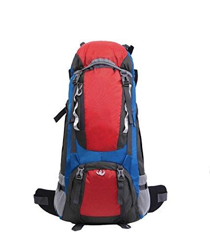 Yy.f Außenbergsteigen Rucksack Wasserdichtes Nylon Reiserucksack 65L Alurahmen Berg Taschen Rucksäcke Multifunktionaler Rucksack. Multicolor Red