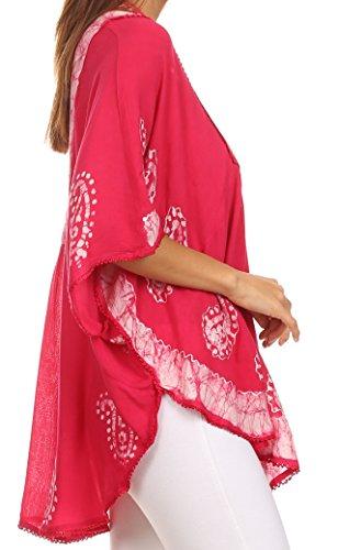 Sakkas Amori Haut Poncho/Robe de plage Col V Brodée Rose/Blanc