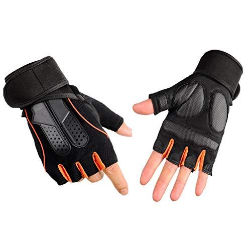 Fitness-Handschuhe, Halbfinger-Armband Rutschfeste Sporthandschuhe Fitnessgeräte Trainingsausrüstung (Farbe : Orange, größe : XL)