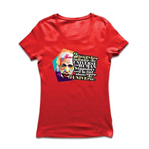 lepni.me Frauen T-Shirt Wissenschaftler Physik Albert Einstein Menschliche Dummheit Sarkastisches Zitat (Large Rot Mehrfarben) (Kerl Nerd Kostüme)