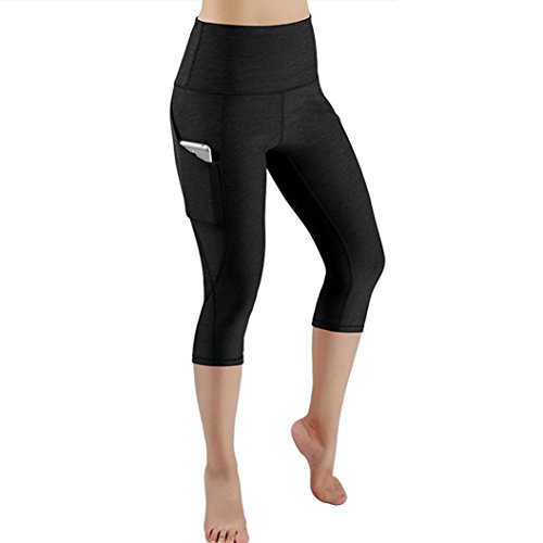 Damen Yoga Leggings,Mitlfuny Mesh Muster Workout Elastische Dünne Hosen Trainieren Laufen Drucken Bleistifthosen Sporthose (Black, L)