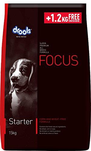 Drools Focus Starter Super Premium Dog Food, 15kg (+ 1.2 KG FREE INSIDE)