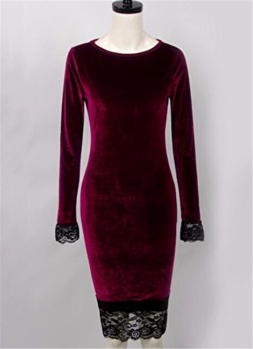 QIYUN.Z Femmes Bodycon Manches Longues Dentelle Ourlet Velours Wiggle Crayon Robe Vin Rouge