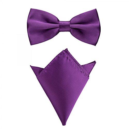 Rusty Bob - Fliege mit Einstecktuch in verschiedenen Farben (bis 48 cm Halsumfang) - zur Konfirmation, zum Anzug, zum Smoking - im 2er-Set - Violett
