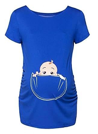 Happy Mama Donna Maglietta Premaman T-shirt Maglia Bambino in Tasca Stampa. 501p (Blu Royal, IT 40/42, S)