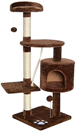 katzeninfo24.de dibea KB00202 Kratzbaum für Katzen, 112 cm Höhe, Braun