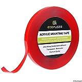 Eco-Fused Ruban adhésif autocollant utilisation danRuban de montage acrylique - 1.27 cm x 11.5 m - Adhérence ultra forte double face - Transparent - Amovible - Facile à appliquer sur tous les types