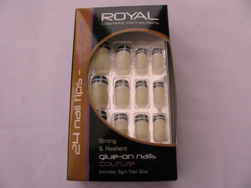 Lot 24 Royal Couture Tips, à coller sur les ongles, 12 tailles, 3 GM Colle à ongles inclus, crème à ongles avec motif Noir et blanc aux Pointes, Neuf en boîte.