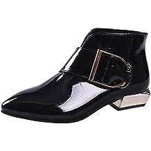 Darringls_Zapatos para Mujer,Botines Moda Retro Mujer cinturón Hebilla Zapatos de tacón bajo Botas Puntiagudas