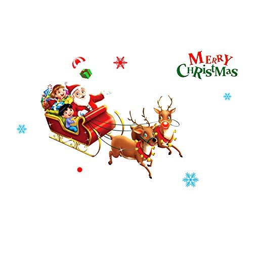 Kentop Wandsticker Weihnachten Aufkleber Cartoon Weihnachtstapete Fensterbilder Abnehmbare Dekor-Aufkleber Weihnachts Dekoration Wandtattoo- Weihnachtsmann mit Schlitten (Weihnachten Dekoration Schlitten)