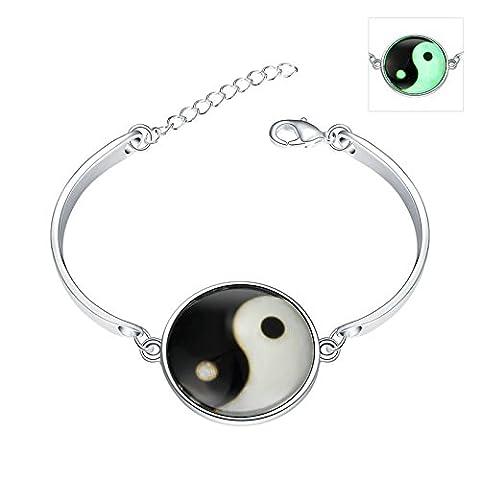 Daesar Damen Charm Armband Leuchtende Halloween / Weihnachten Geschenk Silber Farbe Tai Chi Klatsch Armreif Armbänder 15cm (+5cm (Festliche Zitate Für Weihnachten)