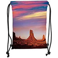 TRAzz Drawstring Backpacks Bags,United States,Monument Valley West Mitten and Merrick Butte Sunset