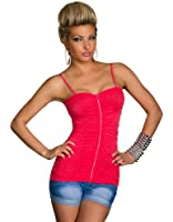 5647 Fashion4Young Damen Spaghettiträger-Top aus weichem Stretch-Stoff verfügbar in 10 Farben