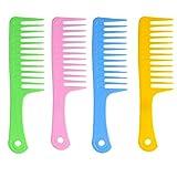 Jiangeshuh 4pcs antistatique Grande dent Peigne démêlant à dents larges Peigne à cheveux Salon Peigne de shampooing pour cheveux épais Cheveux longs et cheveux bouclés 91/5,1cm