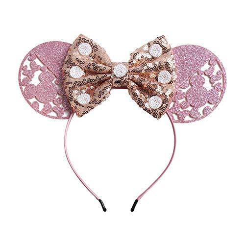 1 PC Big Glitter Minnie Mouse Ears Haarband Für Mädchen 2019 Valentinstag-Partei-DIY Dots Sequin Bogen-Stirnband-Haar-Zusätze Glitter Dot Satin