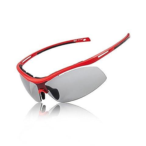 Sport-Sonnenbrille, Anti Glare Anti-Fog Night Radfahren Fahren Polarisiert Sport Brille (Rot)