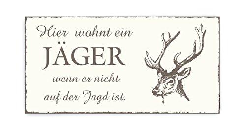 TÜRSCHILD Dekoschild mit Spruch « Hier WOHNT ein JÄGER » Motiv Hirsch - Vintage Shabby Holzschild Schild selbstklebend - Jagd Jagen Beruf