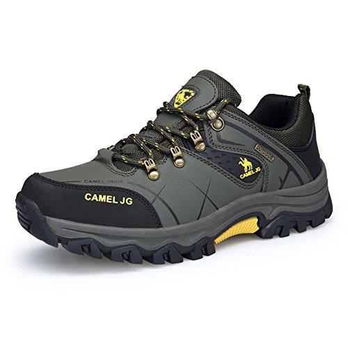 Gomnear Wasserdichte Herren Trekking & Wanderhalbschuhe Leder Outdoor Schuhe,Dunkelgruen-45