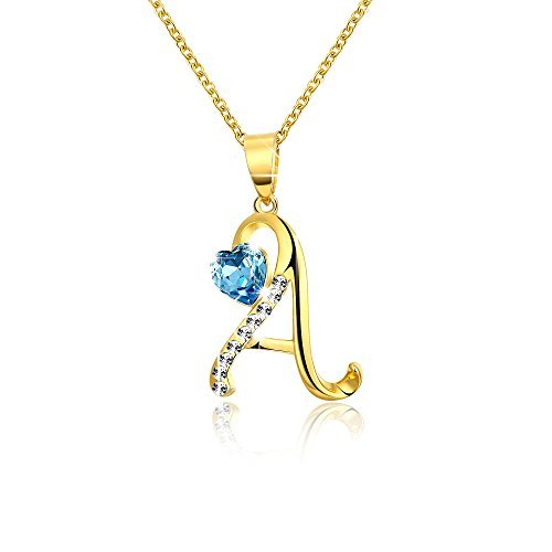 Yellow Chimes Crystals from Swarovski 22K Gold Plated Heart Crystal A Alphabet...