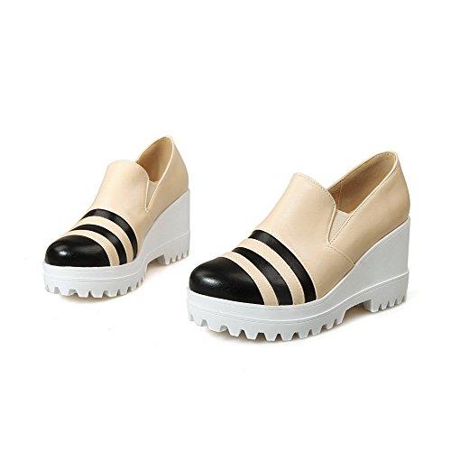 AllhqFashion Femme Matière Souple Tire Rond à Talon Haut Couleurs Mélangées Chaussures Légeres Beige