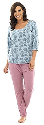 Damen Lang Schlafanzug 2-teiliges Set langärmelige Nachtwäsche Damen Pyjama PJ 's XMas Geschenk Presents Größe UK 8–18 Gr. 40/42 EU, Blue Tree Pattern Top/Pink Pants
