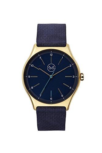 slim made one 10 - Extra Flache Armbanduhr in Gold/blau