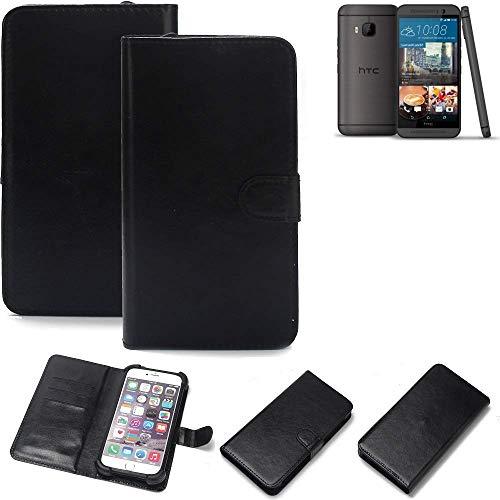 K-S-Trade® Wallet Case Handyhülle Für HTC One M9 (Prime Camera Edition) Schutz Hülle Smartphone Flip Cover Flipstyle Tasche Schutzhülle Flipcover Slim Bumper Schwarz, 1x