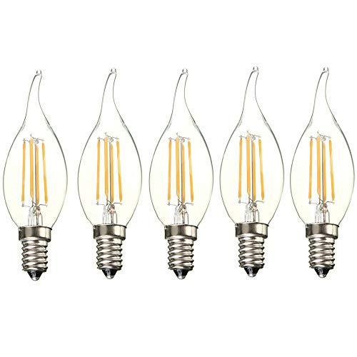 Blanc Lumineux Forme Bougie Chaud Filament Ampoule 4w Lampe Flame Edison 400lm Vintage Éclairage Led Tip Lumière Retro 3000k 5x E14 OPknX80w