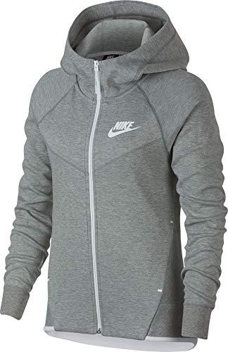 Fleece Zip Hoodie Jacke (Nike Damen Tech Fleece Windrunner Hoodie Full-Zip Dark Grey Heather/White, M)