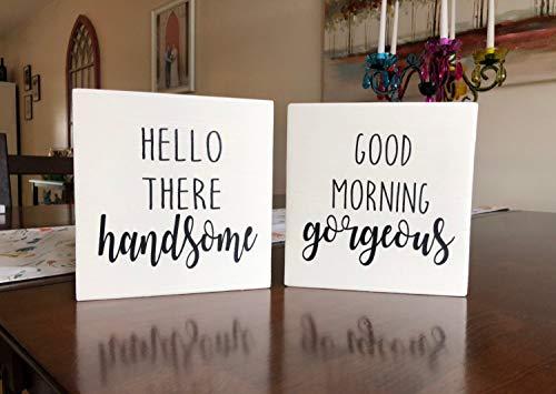 Eyrrme Set von Hello There Handsome Good Morning wunderschöne Holzschilder für Master Schlafzimmer Dekor für Sie und Ihn, lustige Badezimmer-Schilder - Master-schlafzimmer-möbel-sets