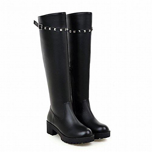 Mee Shoes Damen chunky heels runde langschaft warm gefüttert Stiefel Schwarz