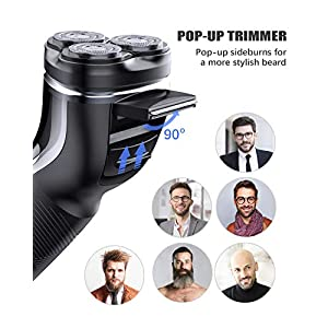 POVOS Electric Shavers for Men, Quick Rechargeable Wet and Dry IPX7 Waterproof Cordless Electric Razor,Men's 3D Rotary Shaving Razor with Pop-up Beard Trimmer,Replacement Heads and Travel Case