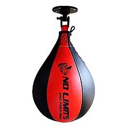AQF Punching Ball in Pelle Speed Sacco da Boxe Girevole MMA Boxing Bag Pungiball Set da Allenamento