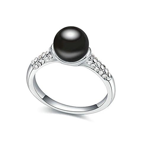 AMDXD Bijoux Plaqué Or Bagues de Fiançailles pour Femme Ballon Perle Noir Taille 52.5