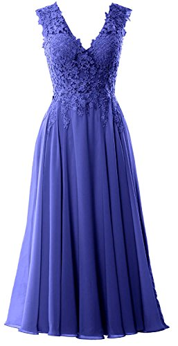 MACloth Gorgeous Tea Length Prom Homecoming Dress V Neck Formal Evening Gown Royal Blue
