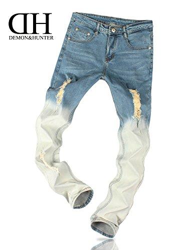 Demon&Hunter JUGEND Series Herren Skinny Slim Fit Jeans DH8008 DH8068 x Allmähliche Veränderung Blau x Normal