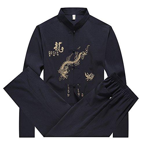 Bozevon tuta di abbigliamento cinese tang - tradizionale cina antica costume di arti marziali tangzhuang kung fu giacca manica lunga abiti camicia vestito uniforme panno per gli uomini (blu navy)